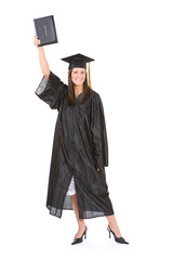 Graduation: Woman Proud to Hold Up Diploma