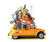 Vacation and travel, a huge pile of things for the holiday - 80801024