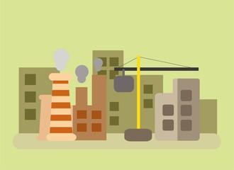 Вектор городской пейзаж в плоском стиле
