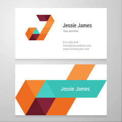 Modern letter J Business card template