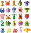 Векторный набор чертежей,  разные характеры монстров, микробов - 80801411