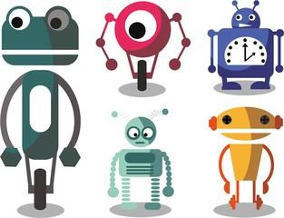 Набор мультфильм векторных роботов