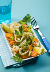 sea salad with mixed vegetables