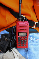 walkie-talkie radio on work site.