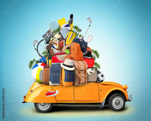 Vacation and travel, a huge pile of things for the holiday - 80802241