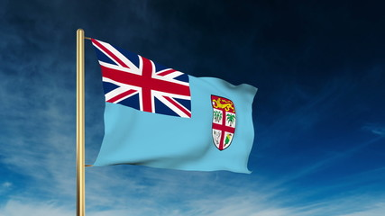 Fiji flag slider style. Waving in the win with cloud background