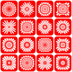 Abstract decorative floral icons.