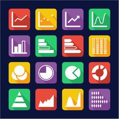 Charts Icons Flat Design
