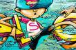 Super boy graffiti, Shoreditch, London