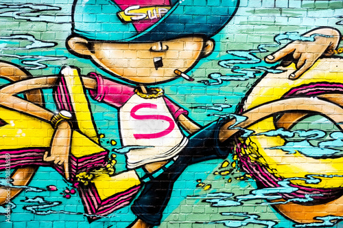 Super boy graffiti, Shoreditch, London