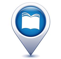 livre sur marqueur géolocalisation bleu
