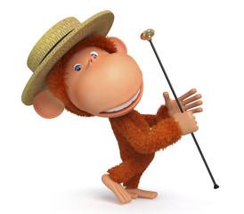 3d monkey dances a step