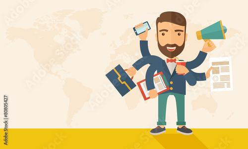 Man doing multitasking - 80805427