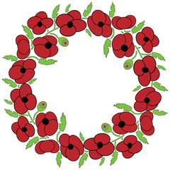 Poppy seeds flowers wreath