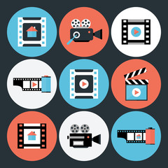 Set of Movie and Video Flat Circle Icons