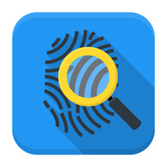 Fingerprint magnifying app icon with long shadow