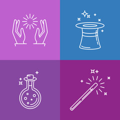 Vector magic related linear icons and signs