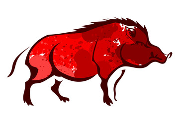 Red wild boar isolated on white background. Watercolor. Vector i