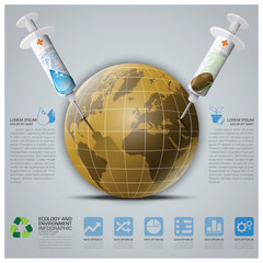 Ecology And Environment Infographic With Syringe To Save The Ear