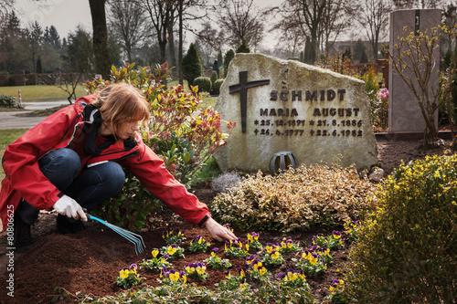 In de dag Begraafplaats Planting flowers on a grave in spring