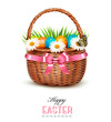 Holiday background with basket full of Easter eggs. Vector.