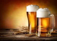 """Постер, картина, фотообои """"Two mugs of beer"""""""