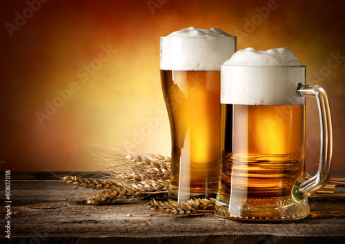 Foto op Canvas Bier / Cider Two mugs of beer