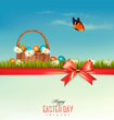 Happy Easter background. Colorful Easter eggs and green grass. V