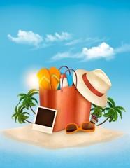 Vacation concept. Palm tree, photos