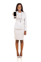 african businesswoman showing smart phone