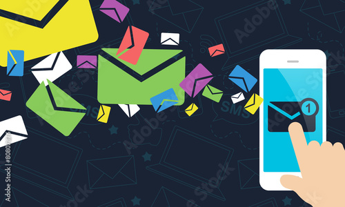 Mobile Marketing - Smart Phone Receiving Emails