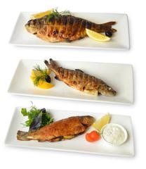 жареная рыба на квадратных блюдах