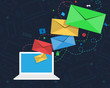Email Newsletter Design with Laptop and Envelopes - 80809608