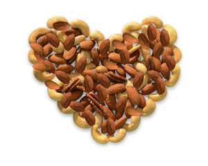 Heart made of variety of nuts.