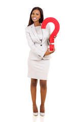 young african american businesswoman holding question mark