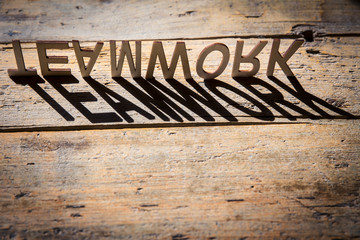 Wooden letters build the word teamwork