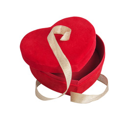 red heart and golden ribbon