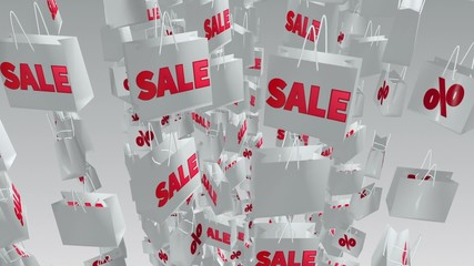 White shopping bags with sale and percent inscription
