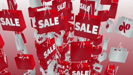 White and red shopping bags with sale and percent inscription