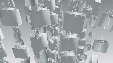 White shopping bags on white