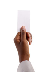 african woman holding blank paper