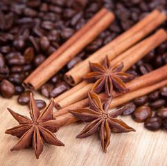 Anis, coffee and cinnamon