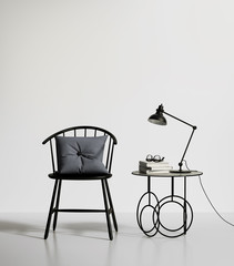 Minimal contemporary interior with a chair and a table