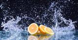 Macro water splash on lemon. Water drops with juicy lemon
