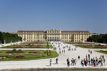 Beautiful view of famous Schonbrunn Palace in Vienna, Austria