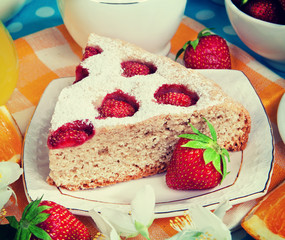Rustic still life. Strawberry cake.Vintage retro hipster style v
