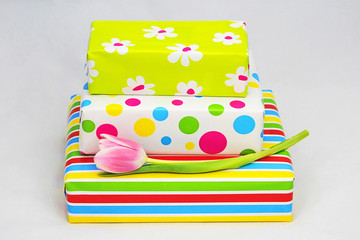 Nice colored gifts in wrap paper for birthday or Mothersday