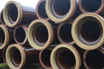 giant pipes in meadow