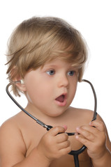 Surprise child with stethoscope