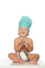 happy child with stethoscope